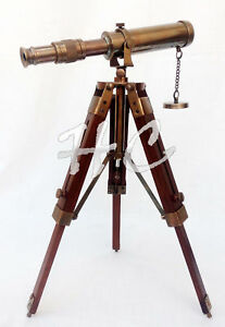 Brass-Telescope-Nautical-With-Wooden-Tripod-Stand-Collectible-Antique-Desk-Top