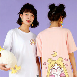Women-039-s-Kawaii-Sailor-Moon-T-Shirt-Japanese-Harajuku-Cartoon-Anime-Cotton-Shirt