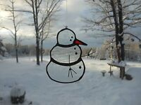 Snowman Stained Glass Suncatcher