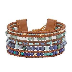 Chan-Luu-Jewelry-Turquoise-Mix-Multi-Strand-Pull-Tie-Leather-Bracelet-Adjustable