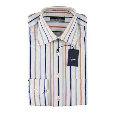 $ 165 Nuova Con Etichetta Ingram Bianca Arancione Blu Righe 100% Cotone Camicia Rimozione Dell'Ostruzione