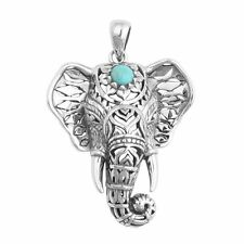 Retro Tibetan Silver Kallaite Animal Elephant Pendant Necklace Women New Jewelry