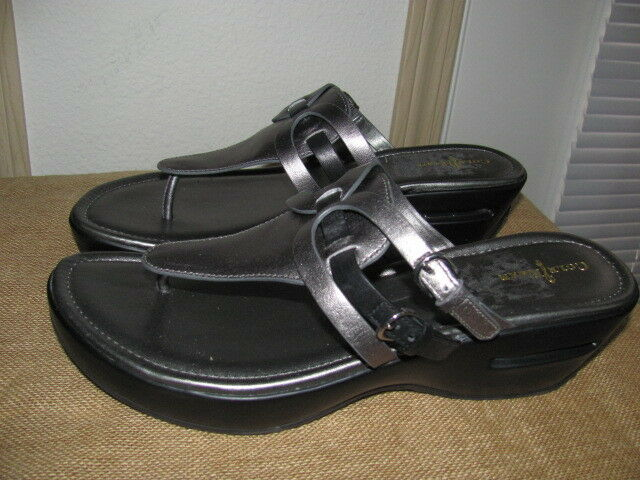 NEW COLE & HAAN AIR MELISA GUNSMAKE LEATHER FLIP FLOP WEDGES WOMEN'S SZ 11  200