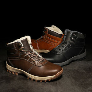 Uk Mens Snow Winter Boots Thermal Fur Lined Hiking Outdoor Shoes