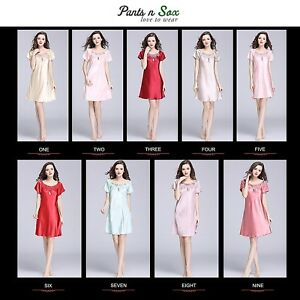 3c7de90782 Image is loading Women-Spring-Gowns-Nightie-Silk-Feel-Sleeveless-Ladies-