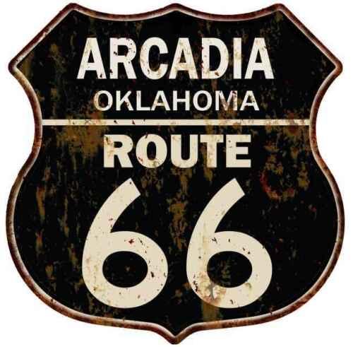 ARCADIA OKLAHOMA Route 66 Shield Metal Sign Man Cave Garage 211110014204