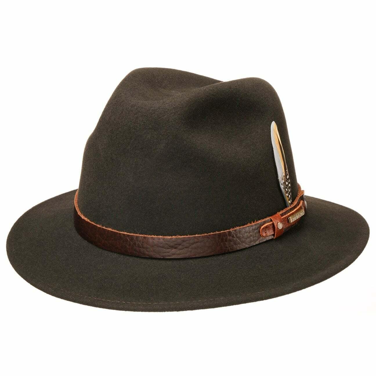 Stetson trifton Vitafelt Hat Hats Felt Hats wollhut Dark Brown L (58-59 cm)