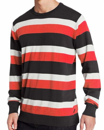 New QUIKSILVER Men/'s Black Striped Knit Hunting Waves Pullover Crew Sweater $55