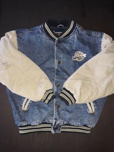 VINTAGE 1990's UTAH JAZZ Denim Varsity Jacket Size