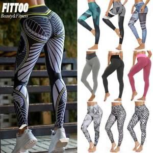 Womens Yoga Pants Print High Waist Fitness Gym Leggings Running Sports Trousers