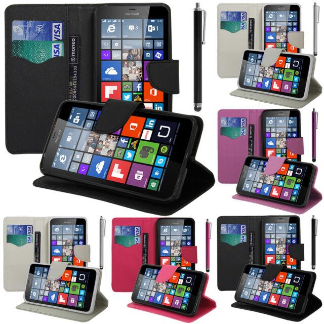 Housse Etui Portefeuille PU Effet Tissu Microsoft Nokia Lumia 640 XL/ LTE/ Dual