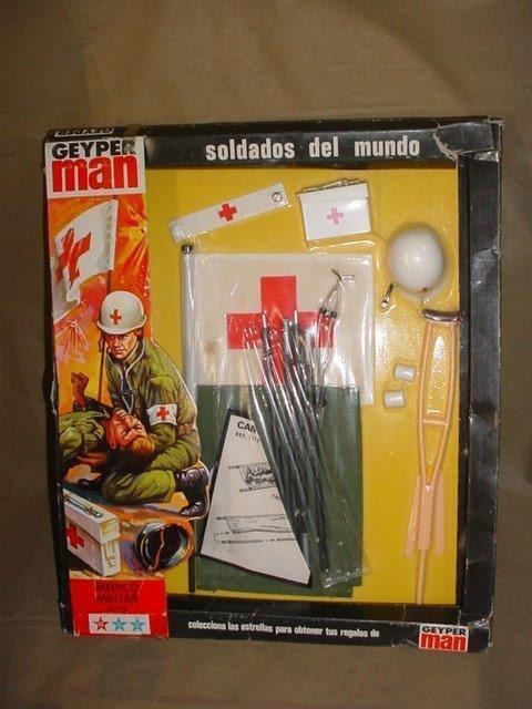 VINTAGE  GI JOE GEYPER MAN MEDIC MEDIC MEDIC SOLDIER SOTW GEYPERMAN WINDOW BOX 1975 SPAIN 7192ad