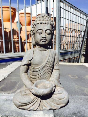 Buddha Bodhisatva Mönch mit Schale 42 cm hoch NEU dunkelgrau// altgrau