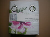 Next Curtains Vibrant Exotic Floral Vintage Shabby Chic Eyelet Lined 53 x 90