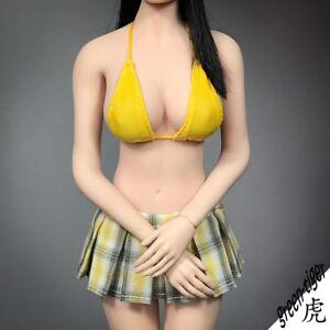 1-6-Scale-ace-Female-Figure-Parts-Yellow-Checker-School-Pleated-Skirt-Bikini-S