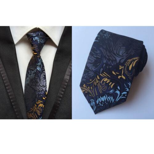 Hommes fashion bleu jaune fleur Cravate En Soie Poche Carré Mouchoir Set Lot HZ144