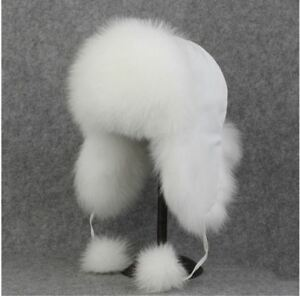 Mens-Womens-genuine-White-Fox-Fur-hat-Cap-Trapper-Russian-Style-Warm-New-Winter