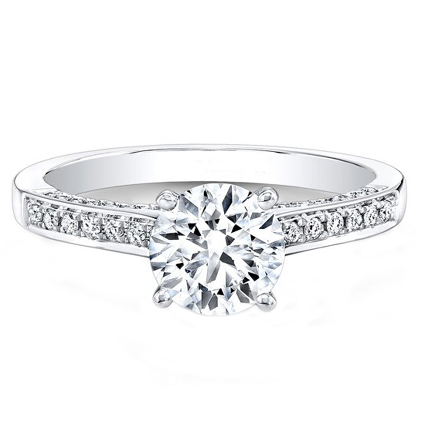 0.74 Ct Diamond Engagement Rings 14K White gold Round Brilliant Size 6.5.25