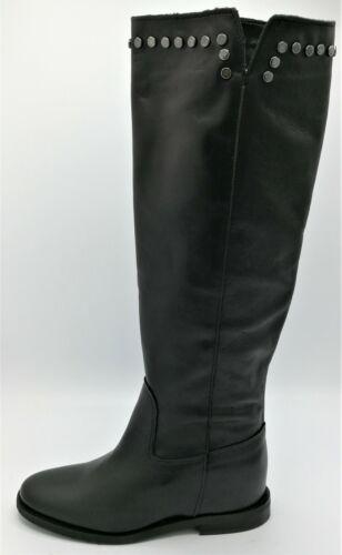 Ovye M71 stivale pelle nero bordo borchiato