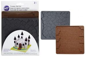 Wilton-Stampo-Tappeto-in-Silicone-Effetto-Muro-Pietra-Legno-2-Pezzi-Texture-cake