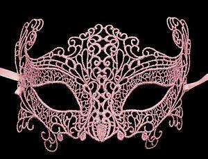 Maschera Di Venezia IN Pizzo Di Burano-Lupo Zibetto Carnevale- Rosa Inglese 1355