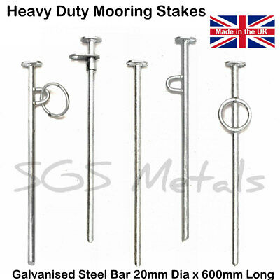 600MM HEAVY DUTY GALVANISED MOORING STAKE PIN WITH STRONG WELDED EYE
