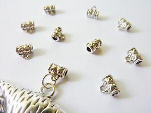 20-pce-Antique-Silver-Alloy-Hanger-Link-Bail-Beads-7mm-x-5mm-Jewellery-Making