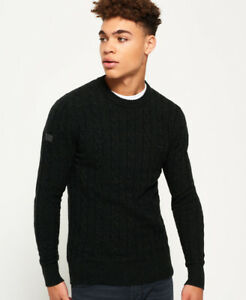 New Mens Superdry Harlo Cable Crew Jumper Seaweed