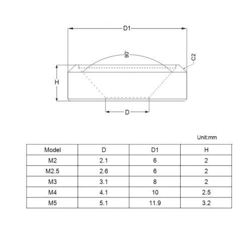 Details about  /Unterlegscheibe Für Senkkopf Schrauben Legierung Aus Aluminium M2 M2.5 M3 M4 M5