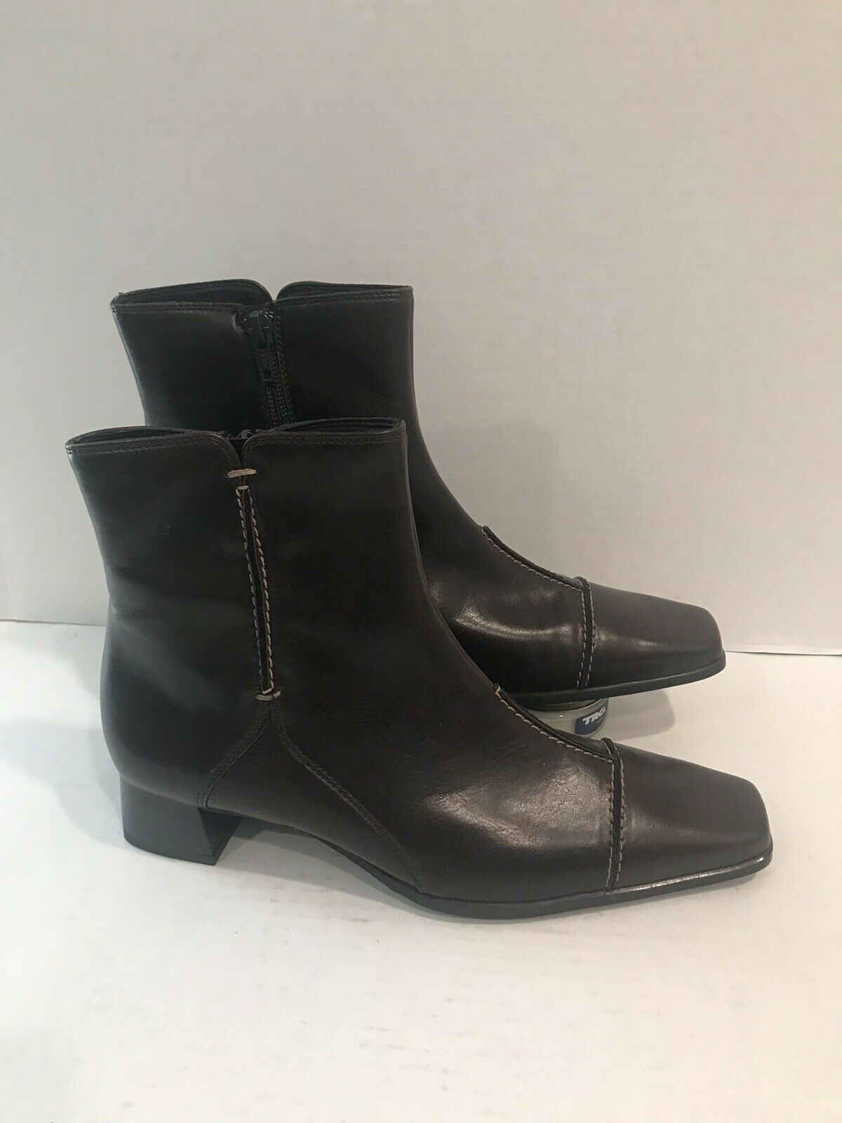 Paul Green Munchen Brown Leather Ankle Boots Size 5 UK 7.5 US Side Zipper