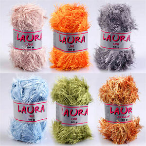 100g-Fransengarn-034-LAURA-034-Fransenwolle-Wolle-stricken-flauschig-weich-Brazilia