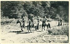 VINTAGE REAL PHOTO POSTCARD 1940  HIDDEN VALLEY DUDE RANCH LAKE LUZERNE NEW YORK