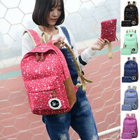 Fashion Printing Star Dot Backpack Women Travel Bookbag Canvas and Small Pen Bag