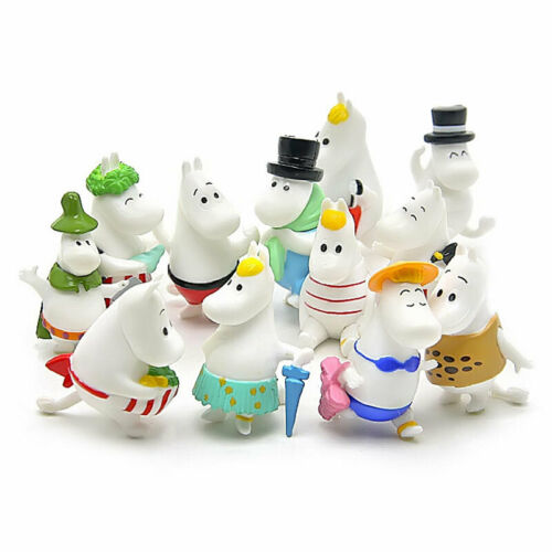 12 Pcs Cute Moomin Valley Doll Snorkmaiden Mini Statue Moomintroll Collection
