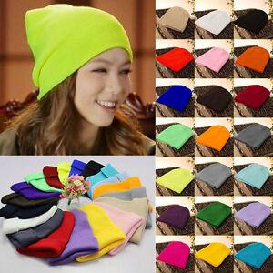 c3ae5e8a5ee Details about Men s Women Beanie Knit Ski Cap Hip-Hop Blank Color Winter  Warm Unisex Wool Hat