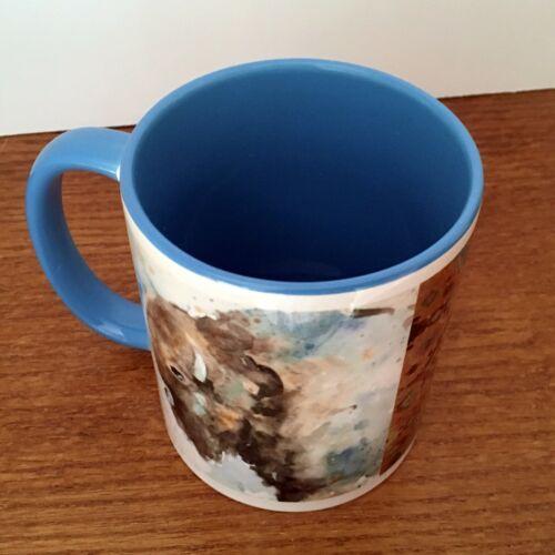 Details about  /Buffalo 11oz Coffee Mug 2-Sided Blue and Brown White Light Blue Inside /& Handle
