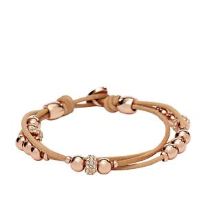 niedrigster Rabatt spottbillig Bestseller einkaufen Fossil Damen-Armband JA6539791 Edelstahl Leder Roségold ...