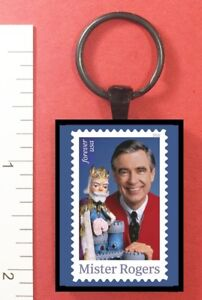 Details about MR ROGERS POSTAGE STAMP ART METAL KEY RING - NEIGHBORHOOD -  KING FRIDAY - PBS
