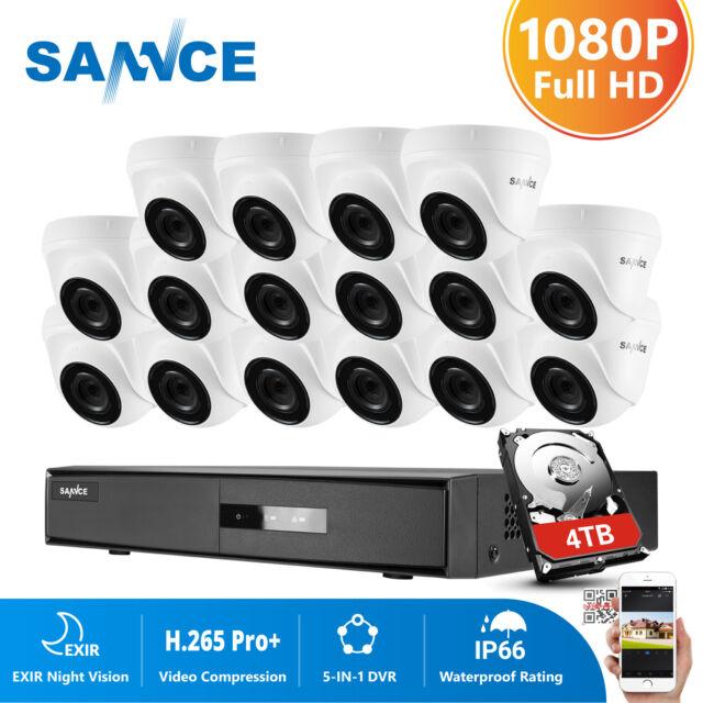 SANNCE 16CH 1080N TVI DVR 1080P Dome IR LED Night CCTV Security Camera System HD