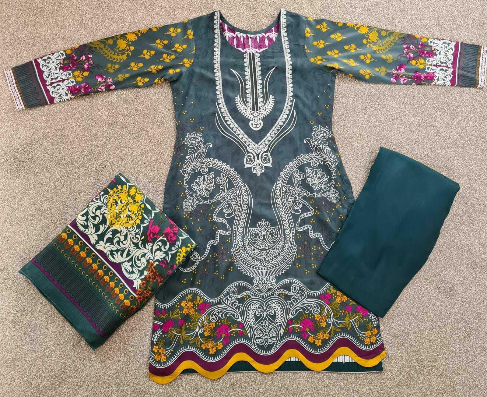 Brand New Pakistani Indian Linen Salwar Kameez Ladies Stitched suit 3 piece Gift