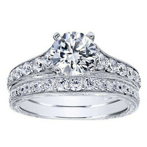 2.00 Ct Round Moissanite Engagement Superb Band Set Solid 18K White Gold Size 9