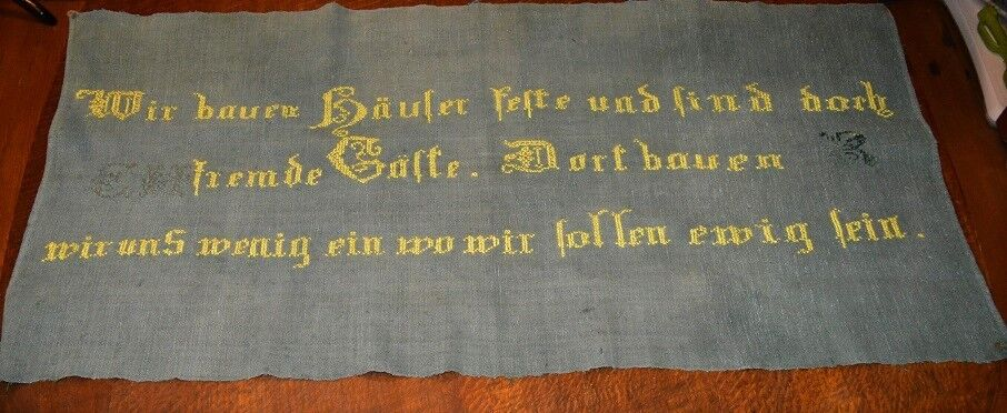 ANTIQUE 1900  WISE GERMAN SAYING  WALLHANGING TABLECLOTH ON vert HOMESPUN LINEN