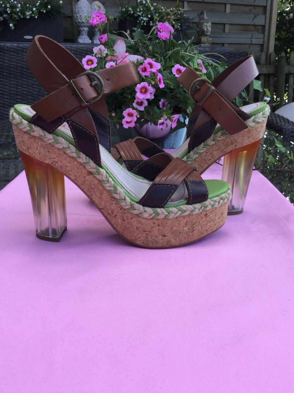 Miss Sixty Highheel Sandaleette Plateau Plexiabsatz 39 Party Hochzeit Ball