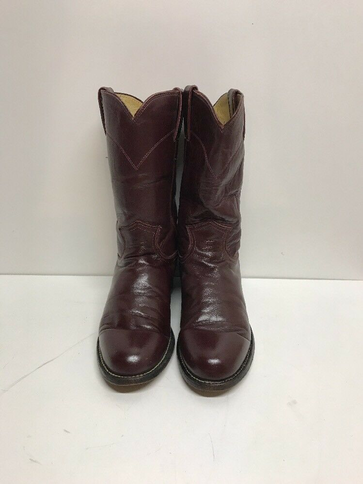 Justin Bay Apache Brown Leather Cowboy Boots Size 5 C Style L 3068