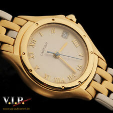 CARTIER PANTHERE COUGAR MONTRE UHR DAMENUHR 18K/750 SOLID GOLD & STEEL WATCH+BOX