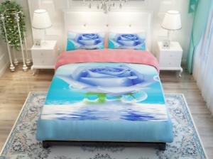 3D bluee pink Water 9 Bed Pillowcases Quilt Duvet Cover Set Single Queen King CA