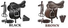 NEW ALL PURPOSE BLACK BROWN LEATHER ENGLISH HORSE SADDLE TACK SET 15 16 17