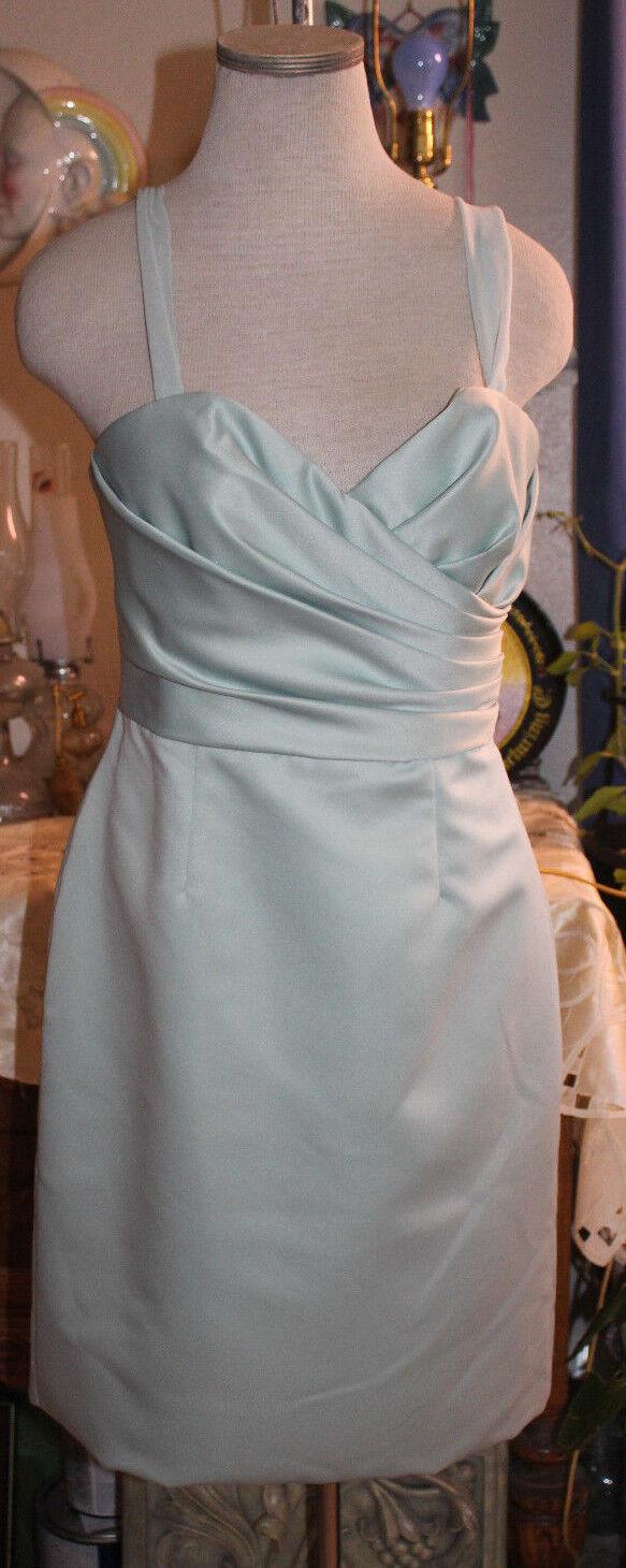 WToo Watters & Watters sea mist chiffon satin bridesmaids cocktail dress 10 NWT
