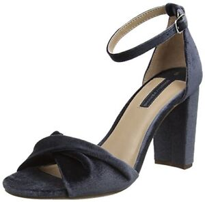 c06b5fe0544 Dorothy Perkins Shani Grey Velvet Block High Mid Heel Shoes Sandals ...