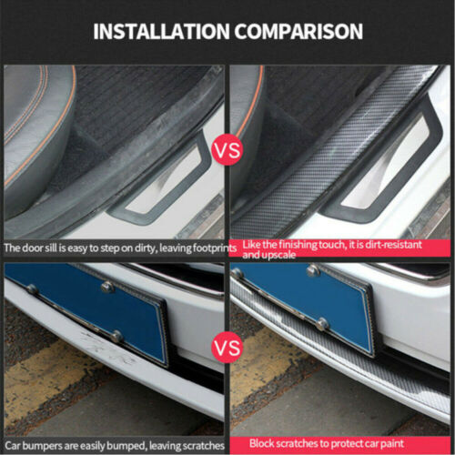 5CM*1M Car Carbon Fiber Rubber DIY Door Sill Protector Edge Guard Strip Sticker
